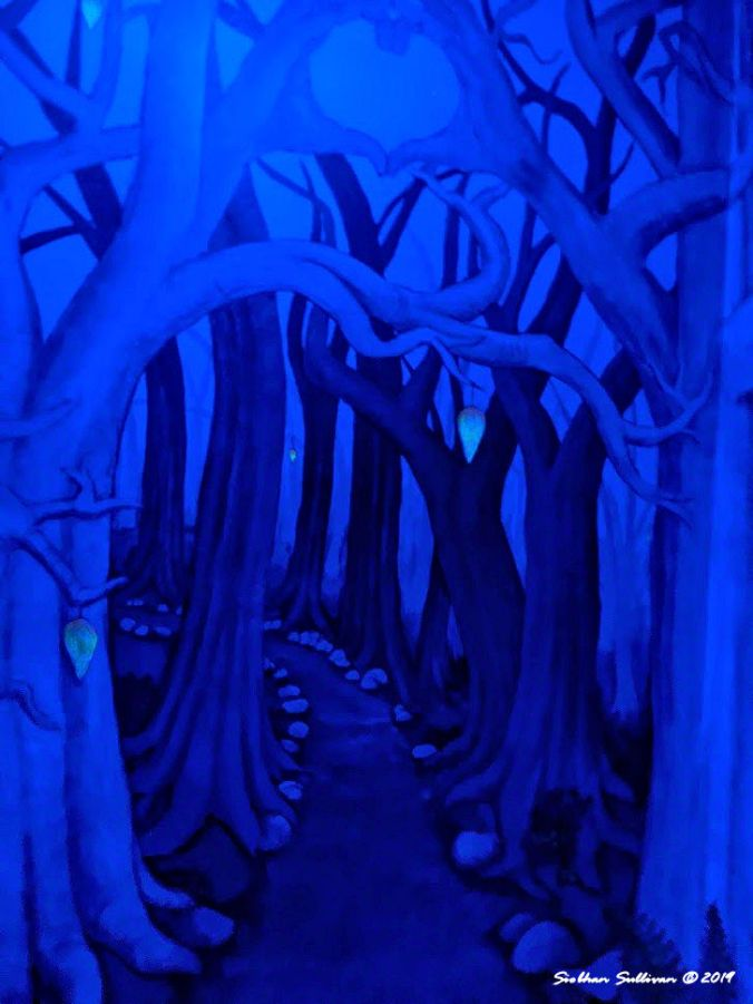 Secret blue views in hidden room at McMenamins Old St Francis in Bend, Oregon 19 January 2020