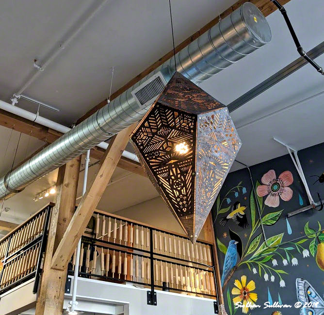 Intricate light and rolling pin railing. Foxtail Bakeshop February