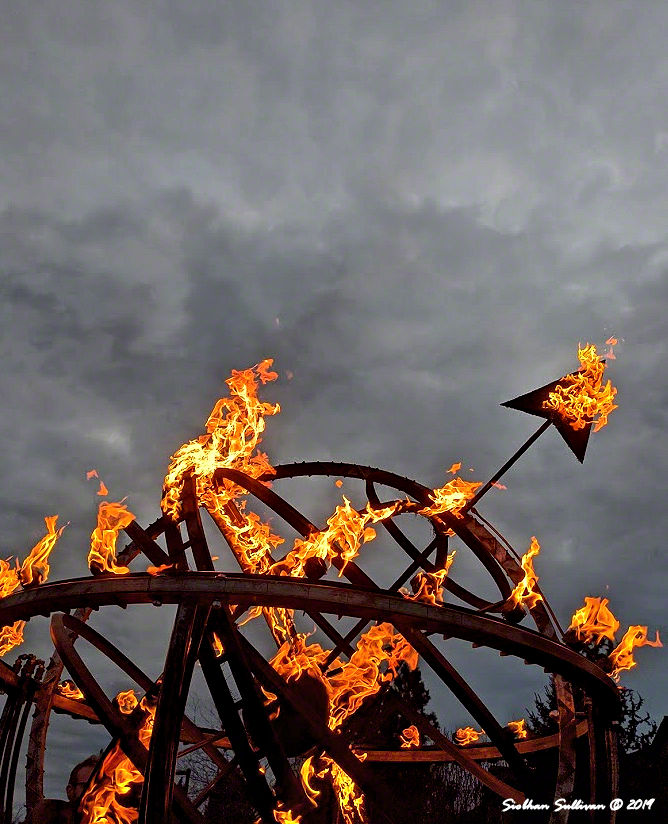 This world is on fire , fire pit in Bend, Oregon 14 February 2020