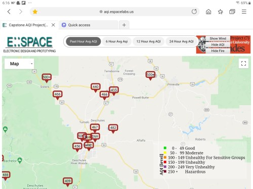 Air quality near Bend Oregon 12 September 2020