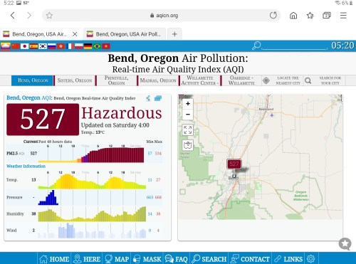 Air quality in Bend, Oregon 12 September 2020