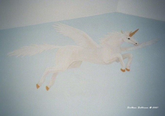 flying unicorn mural