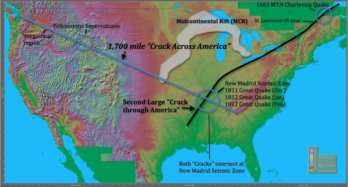 "Fig 1. 1,700 mile to 2,200 mile ""Crack Across America"", ""Crack Through America"", and Midcontinental Rift (MCR)"