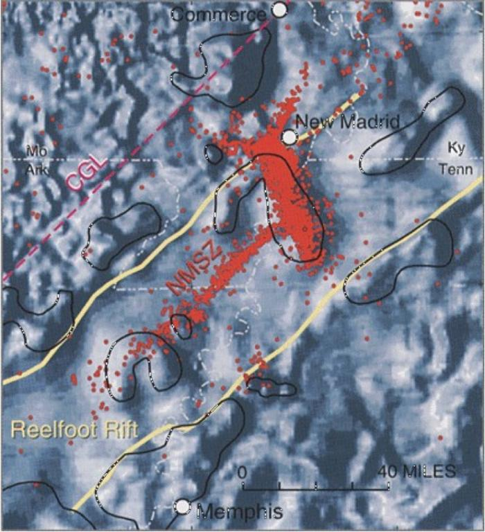 "Fig 2. Reelfoot Rift zone image mapped via magnetometer data with overlay of thousands of small earthquakes (red dots). Map shows the northeast trending ""Crack Through America"" intersection at New Madrid Seismic Zone - follows line of earthquakes."