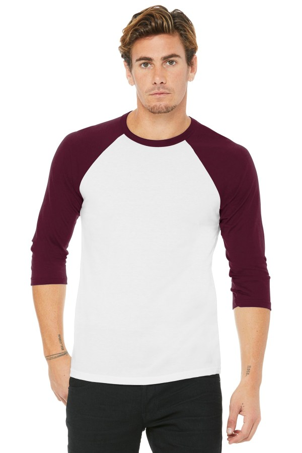BELLA+CANVAS  Unisex 3/4-Sleeve Baseball Tee. BC3200