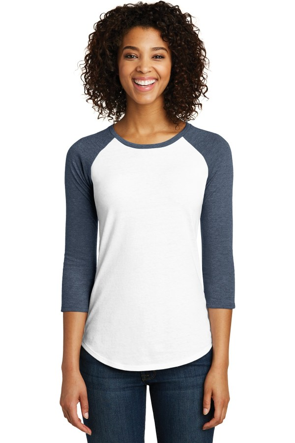 District Women's Fitted Very Important Tee 3/4-Sleeve Raglan. DT6211