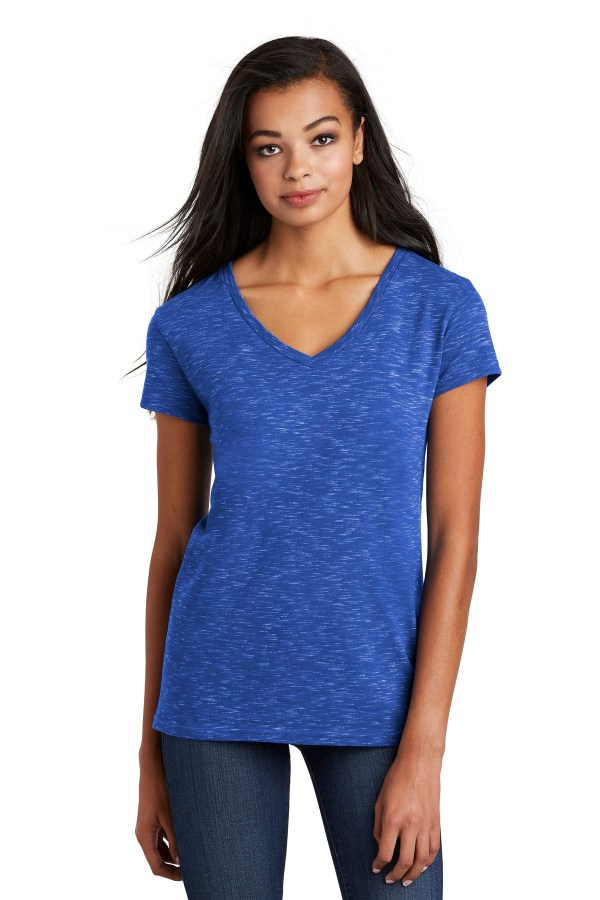 District  Women's Medal V-Neck Tee. DT664