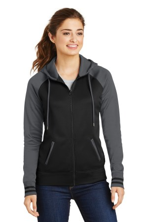 Sport-Tek Ladies Sport-Wick Varsity Fleece Full-Zip Hooded Jacket. LST236