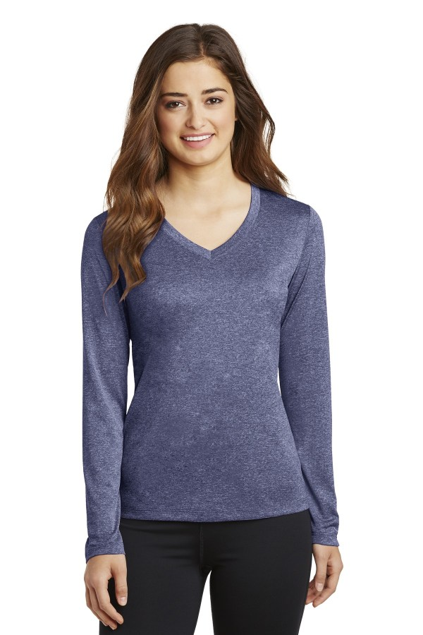 Sport-Tek Ladies Long Sleeve Heather Contender V-Neck Tee. LST360LS