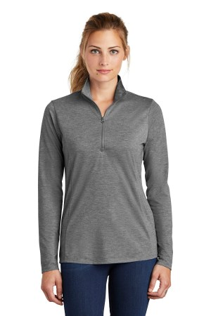 Sport-Tek  Ladies PosiCharge  Tri-Blend Wicking 1/4-Zip Pullover. LST407