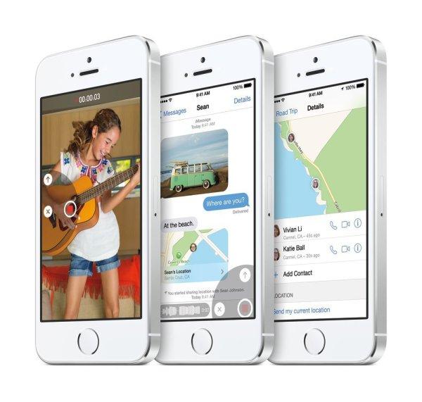 iPhone 5S mit iOS 8 Standard-Apps. Quelle: Apple.de