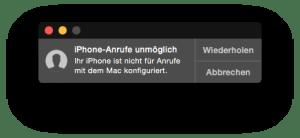Fehlermeldung iPhone-Anrufe unmöglich