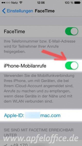 iOS 8 Facetime-Einstellungen MIT aktivierter Apple-ID