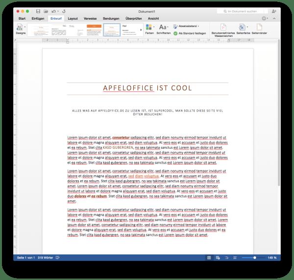 Ein Klick ändert alle Absatzformate zum Ausprobieren vom Textaussehen in Microsoft Word für Mac 2016