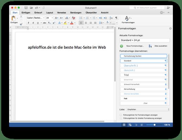 Seitenleiste in Word für Mac 2016 im Dokumentfenster integriert