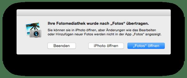 Warnhinweis für iPhoto-Anwender
