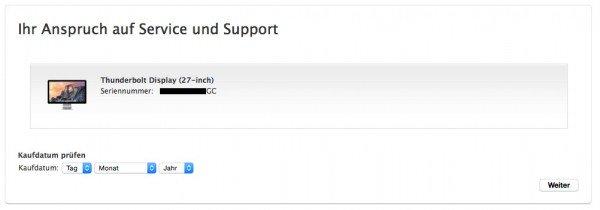 Das echte Kaufdatum an Apple melden