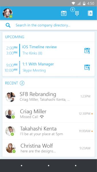 Skype for Business App für iOS. Quelle: Microsoft