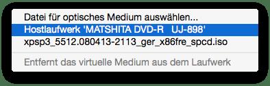 Zugriff auf Ihr eingebautes Mac Superdrive durch die Windows-VM erlauben: Häkchen setzen bei Hostlaufwerk