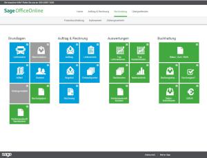 Sage Office Online Startbildschirm. Quelle: Sage