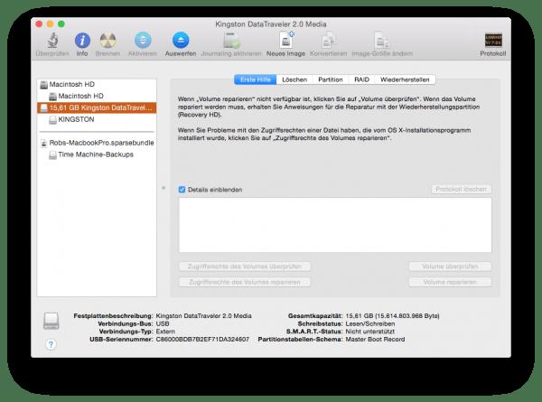 Das Festplattendienstprogramm für OS X zeigt alle angeschlossenen Geräte und deren Volumes an