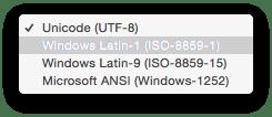 Die Windows-Kodierung behält die deutschen Umlaute im CSV-Format