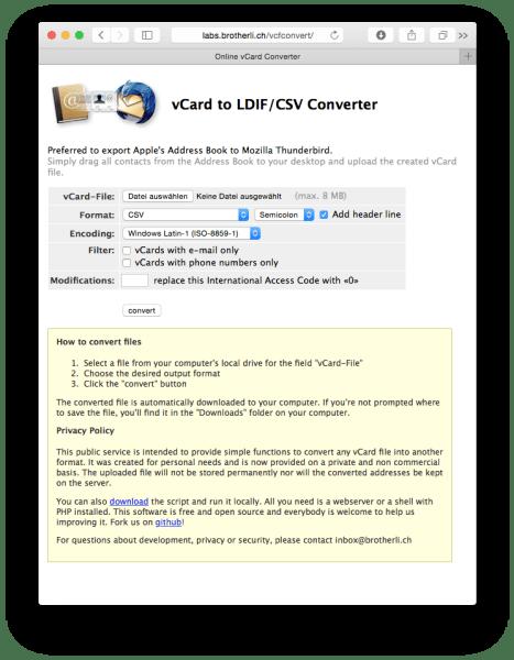Dateikonvertierung von VCF zu CSV über das Internet