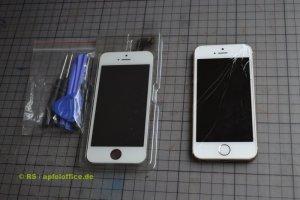 iPhone Display Reparatur-Set inkl. Werkzeug und iPhone mit defektem Touchscreen-Retina-Display