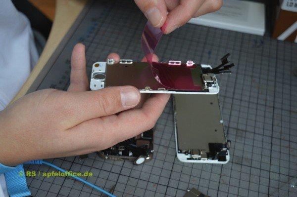 Das neue iPhone Display für den Einbau vorbereiten