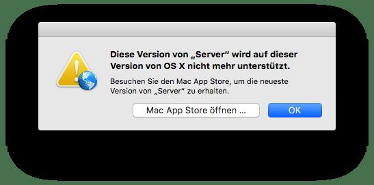 Fehlermeldung OS X Server App Version 5.1 unter El Capitan 10.11.3