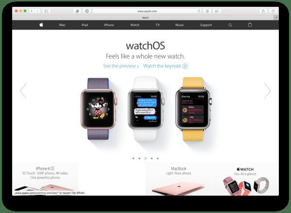 Apple watchOS 3 auf der Keynote WWDC 2016 vorgestellt. Quelle: Apple