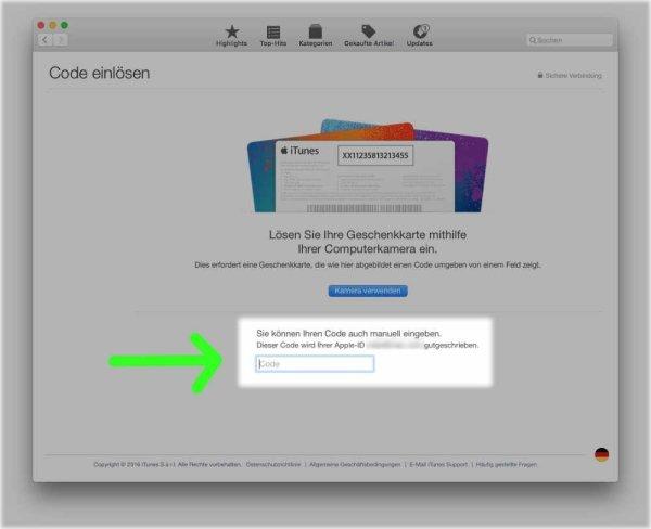 Mac App Store Gutschein oder Download-Code einlösen