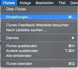 Einstellung in iTunes öffnen