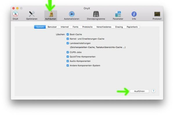Die verschiedenen Aufräum-Kommandos in Onyx schaffen Platz auf der Macintosh HD