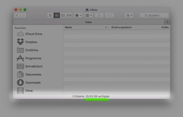 Ein Finder-Fenster in macOS mit eingeblendeter Statusleiste