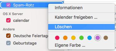 Einen unerwünschten Kalender per Rechtsklick in die Seitenleiste der Kalender-App löschen
