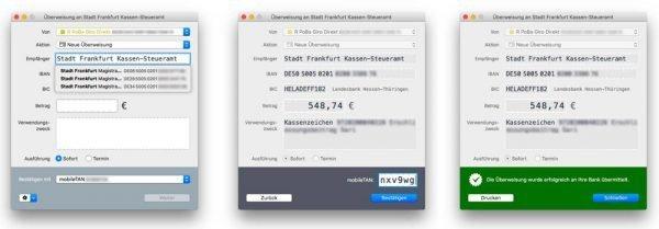 MoneyMoney gibt ein sicheres Gefühl bei der Durchführung von Online-Überweisungen am Mac
