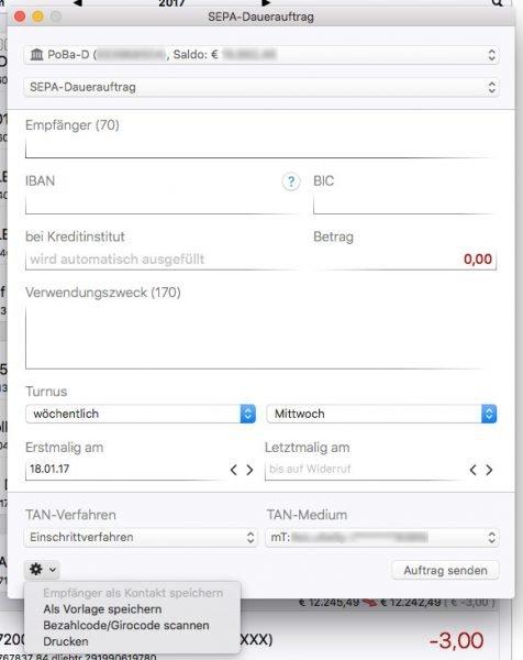 Überweisungen in iFinance am Mac erledigen