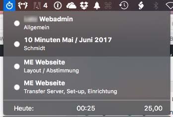 Zeiten per Stopp-Uhr / Timer erfassen am Mac über die Menüleiste