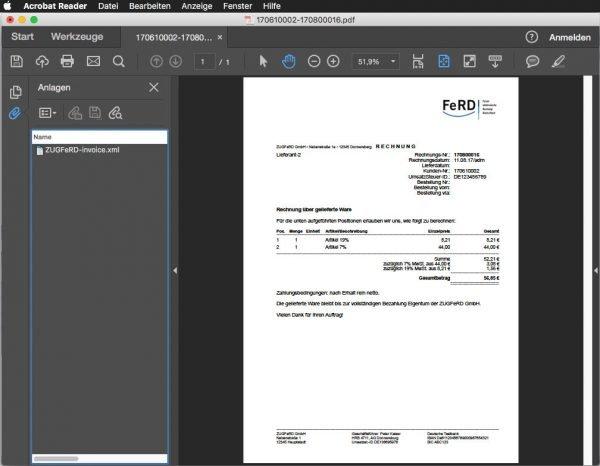 Auf den ersten Blick sieht die ZUGFeRD-Rechnung wie ein normales PDF-Dokument aus. Allerdings ist ein XML-Dokument mit den Rechnungsdaten angehängt (links im Bild)