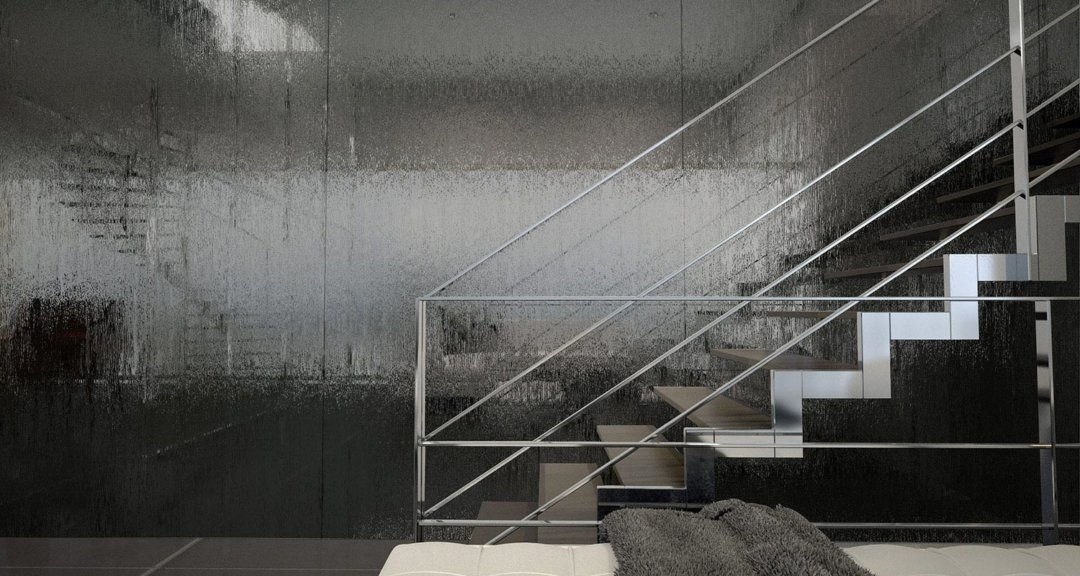 Textured Patterned Architectural Glass Bendheim   Etched Glass Stair Panels   Bannister   Mirror   Tempered Glass   Duplex   Glass Etching