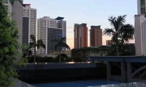 Wolkenkratzer und Palmen in Manila