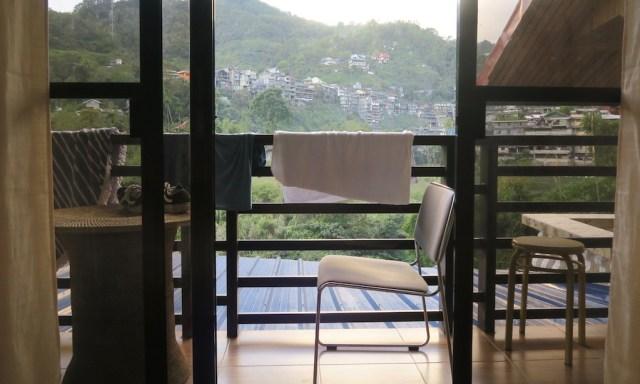 Blick vom Balkon des Deluxe-Rooms des Banaue Homestays