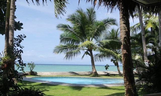 Pool, Palme und dahinter das Meer im Les Maison D' Itac