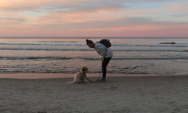 Frau und Cockapoo am Sonnenuntergangshimmel von Kolberg
