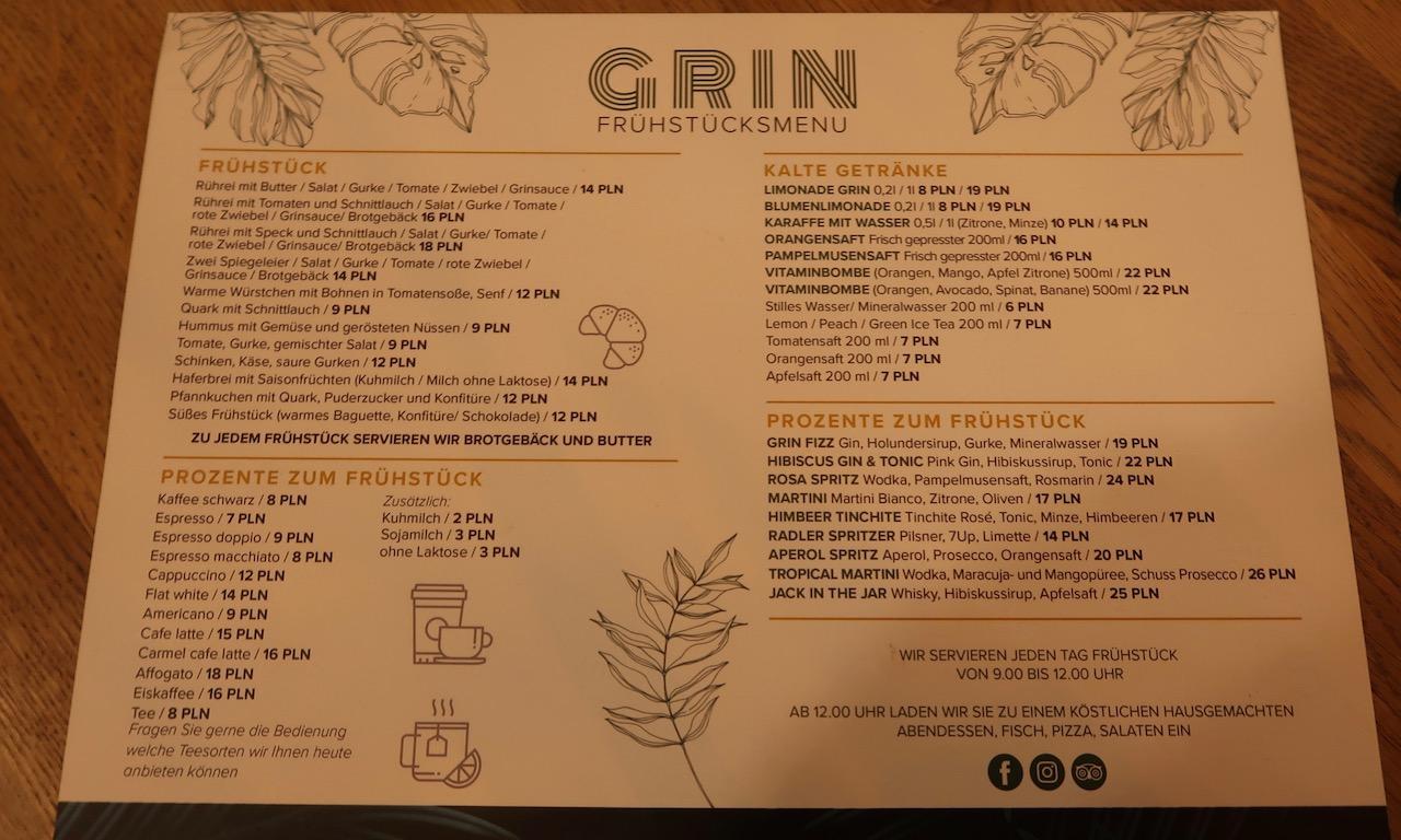 Frühstücksmenükarte des Café Grin in Kolberg