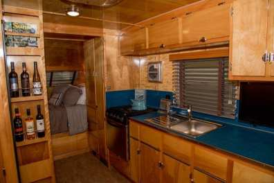Inside the Neutron, a vintage-inspired camping trailer from Flyte Camp.