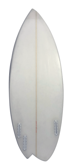 White Asym Riverboard with Green Pinstripe Back