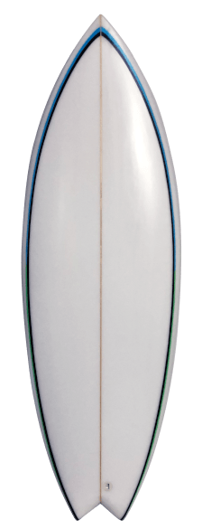 White Riverboard with Blue pinstripe Front