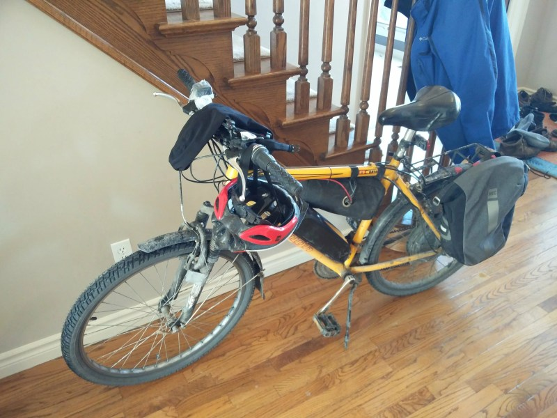 Ben's eBike, inside after a ride, FRONT VIEW